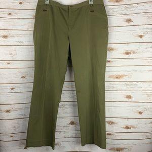 Lauren Ralph Lauren 18 W pants green zip pockets
